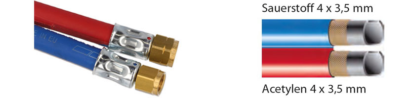 5 Meter Zwillingsschlauch Acetylen 4x3,5mm O2 4x3,5mm,fertig mit Anschlüssen